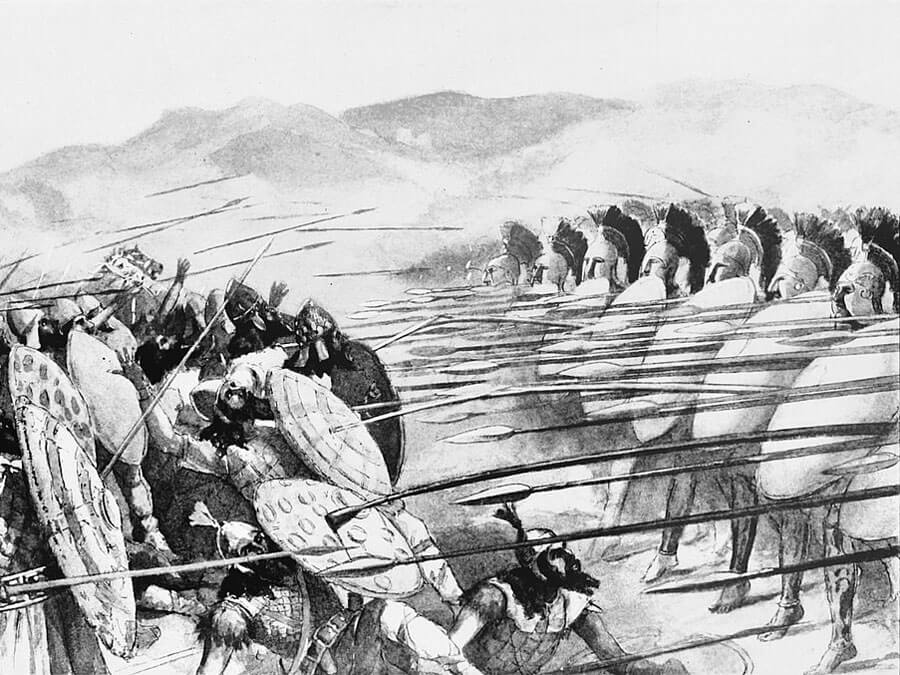 The Spartan Phalanx against the Persian army