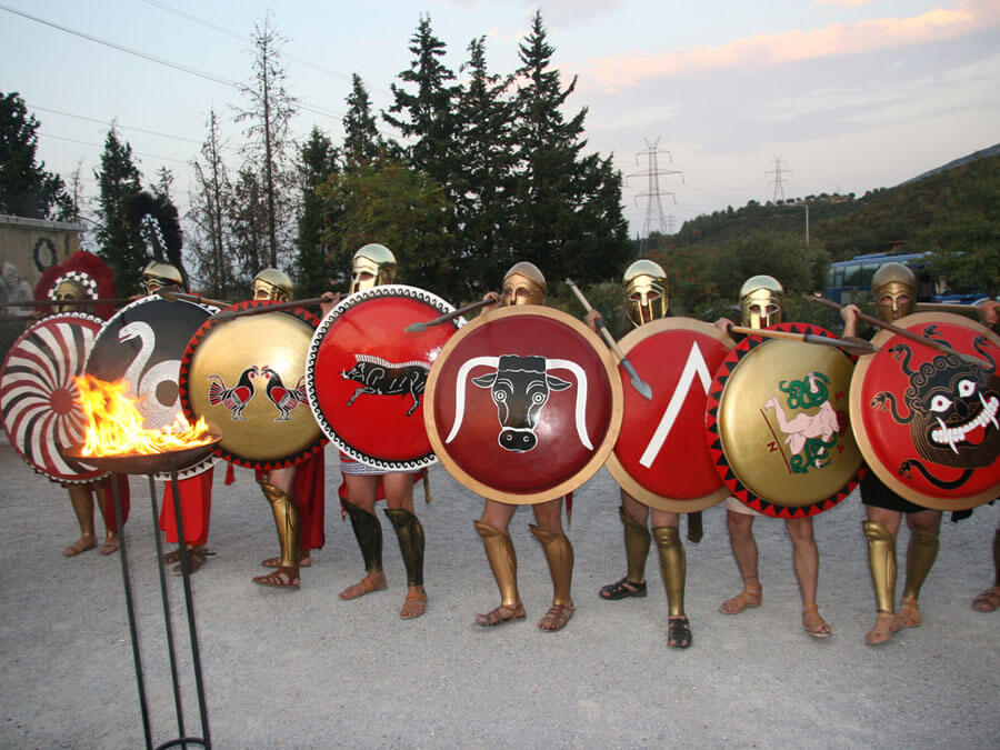 People dressed like Spartans warriors in Thermopylae