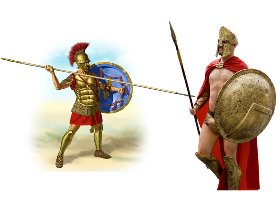 On the right: a Spartan warrior in the 300 movie. On the left: how Spartan warriors looked like in reality.