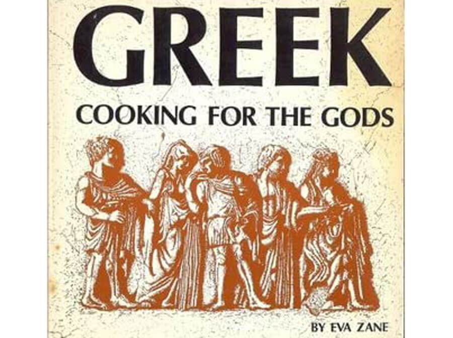 "Cover of the ""Greek Cooking for the Gods"" cookbook"