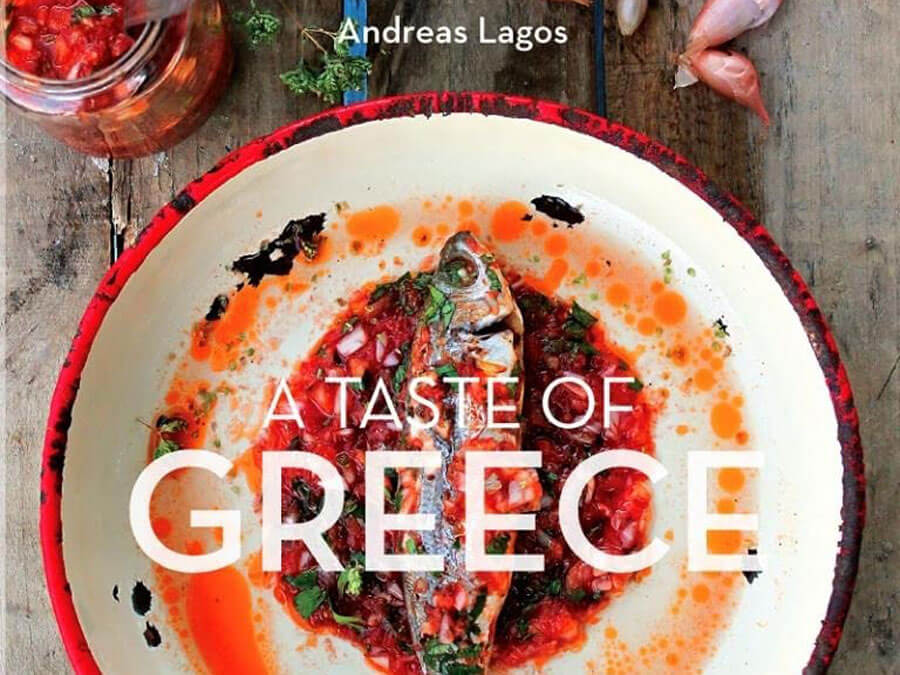 "Cover of the ""A Taste of Greece"" cookbook"