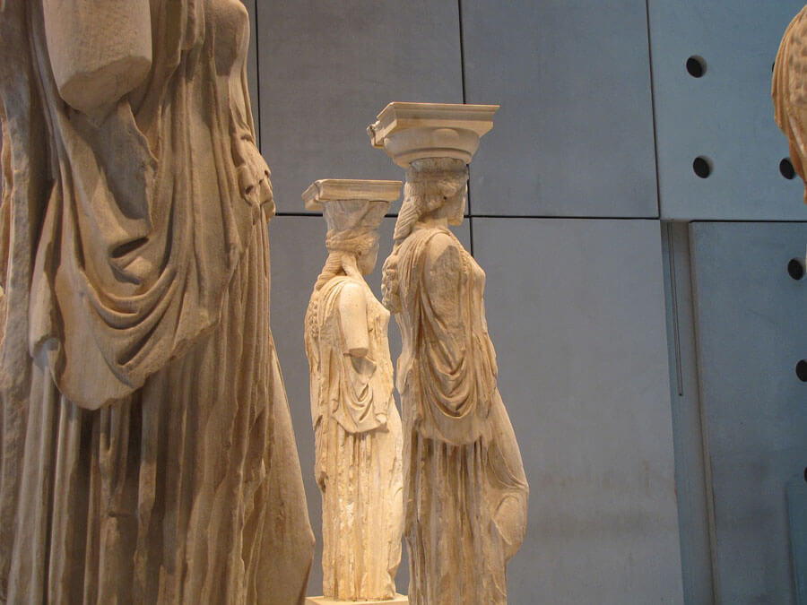 The Caryatids in the Acropolis Museum of Athens