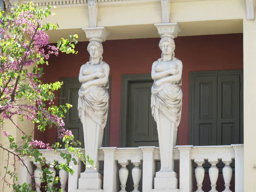 The Caryatids of the building at 43 Asomaton Street