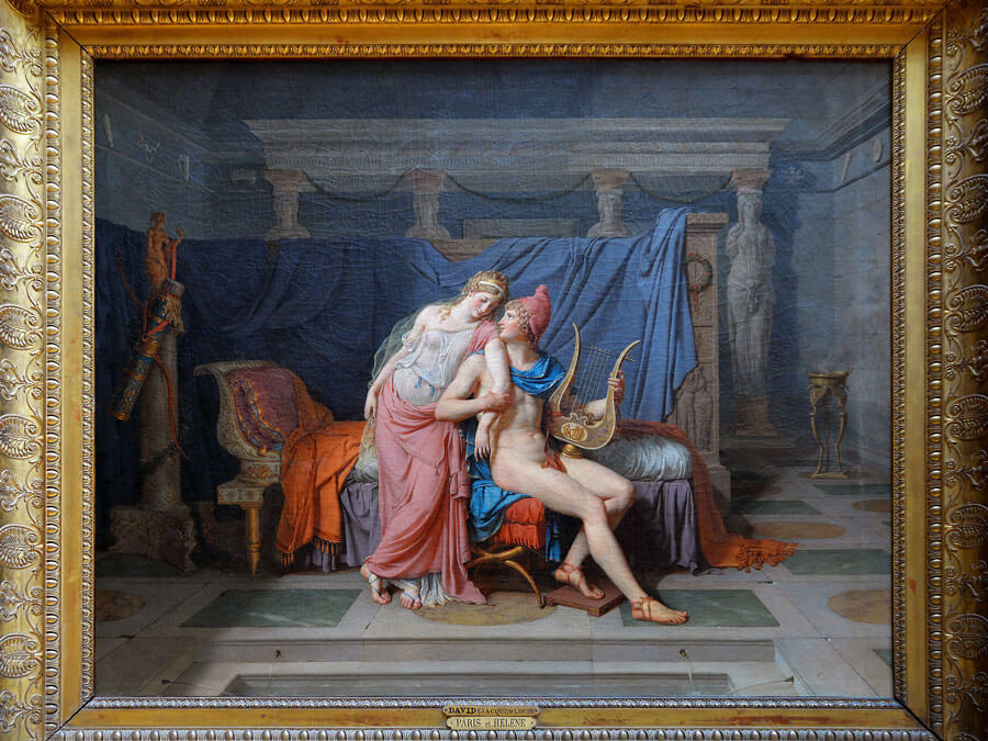 "Caryatids in ""The Love of Paris and Helen"" by Jacques-Louis David"