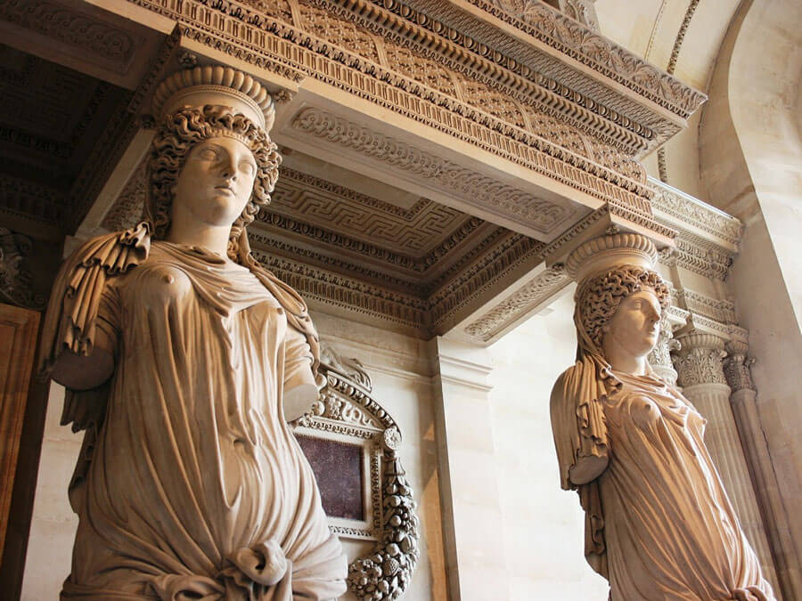 Caryatids in the Louvre Museum in Paris