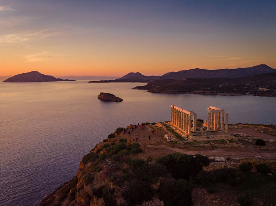Sunset from the Temple of Poseidon, day trip from Athens
