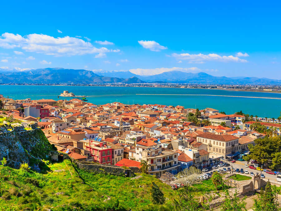 Panoramic view of Nafplion, day trip from Athens