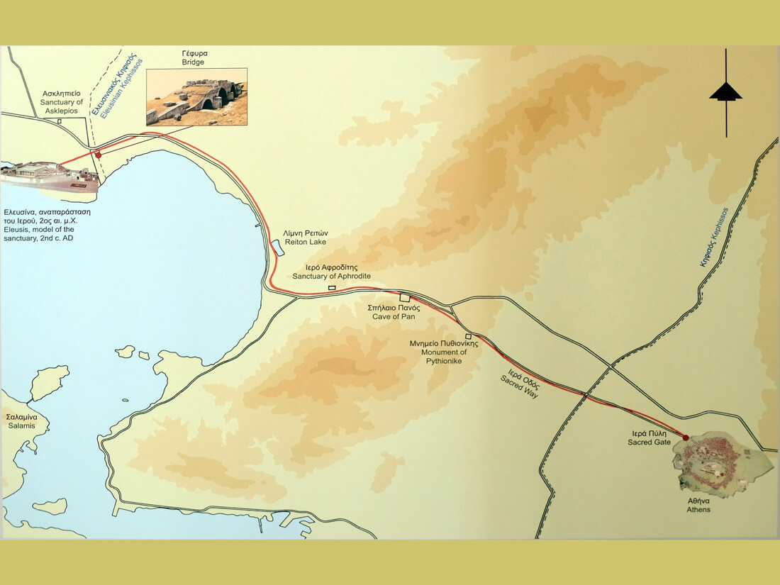 Map of the Sacred Way from Athens to Eleusis