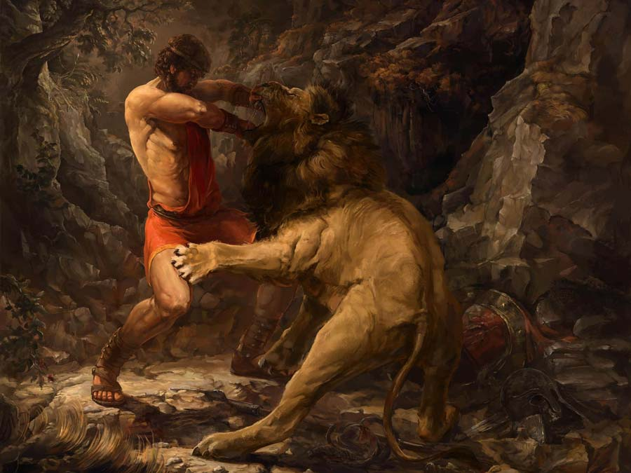 Hercules in killing the Nemean Lion in his 1st labor