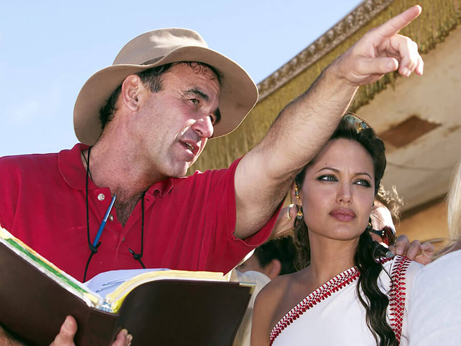 "Oliver Stone and Angelina Jolie in ""Alexander"""