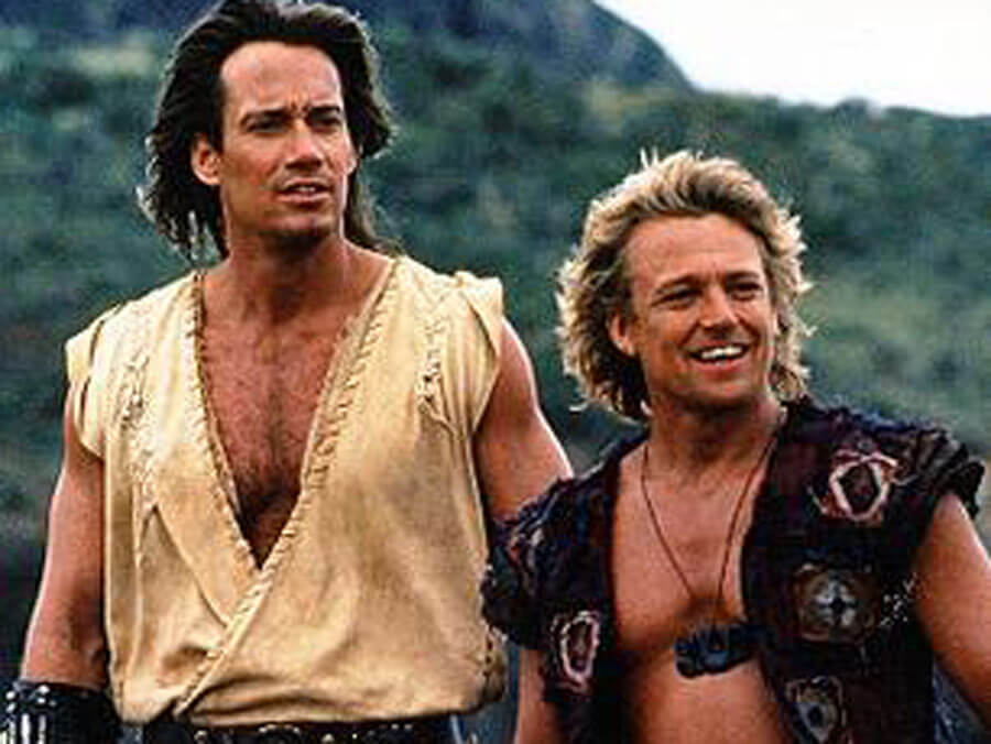 Kevin Sorbo as Hercules (left) and Michael Hurst as Iolaus (right)