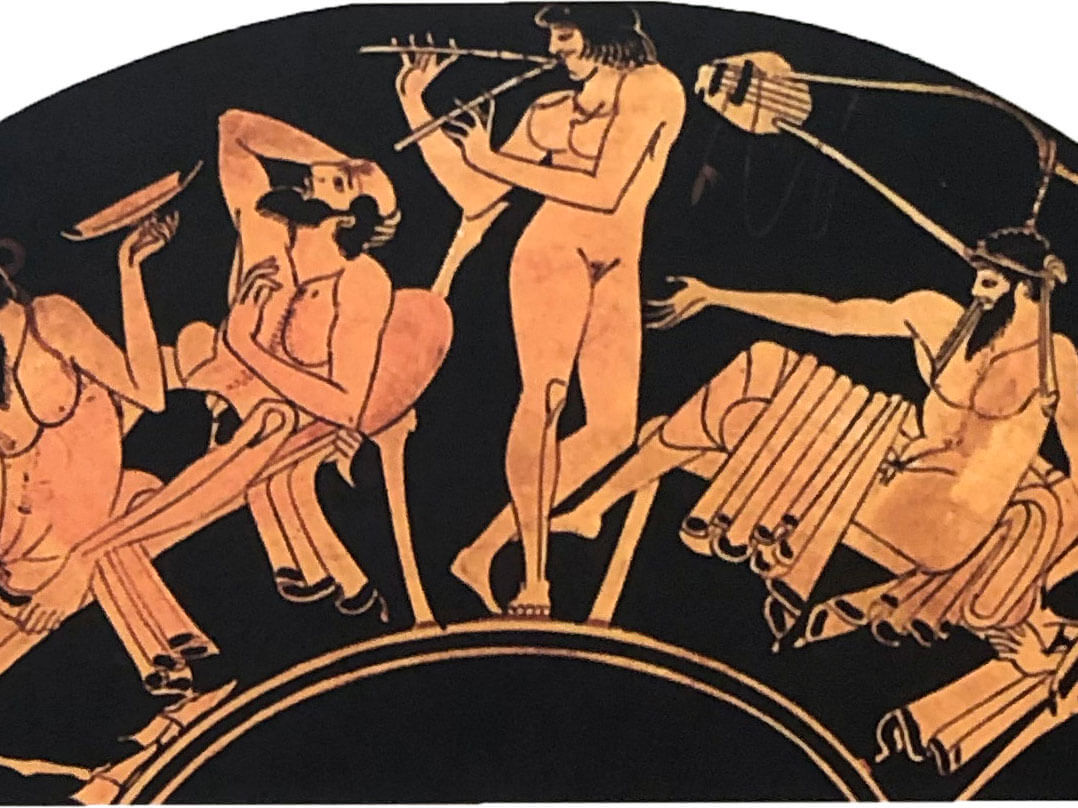 Scene from a symposium, from a 5th century BC red-figure kylix