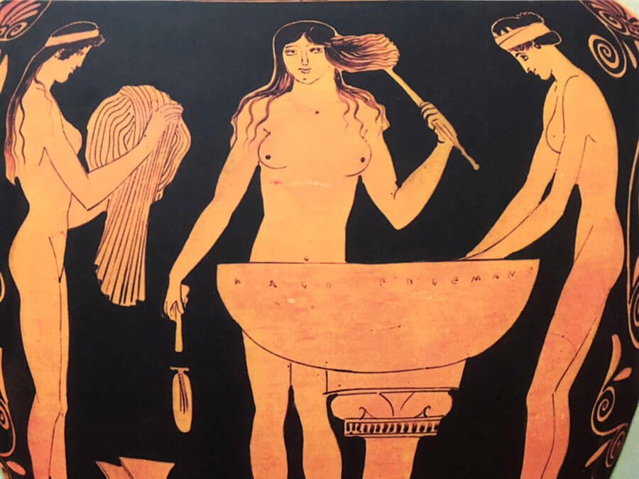 Women adorning themselves - from a 5th century BC pitcher